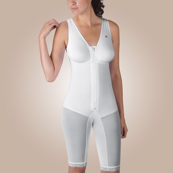 Above-Knee Molded Buttocks High-Back Girdle with Bra, Zippered