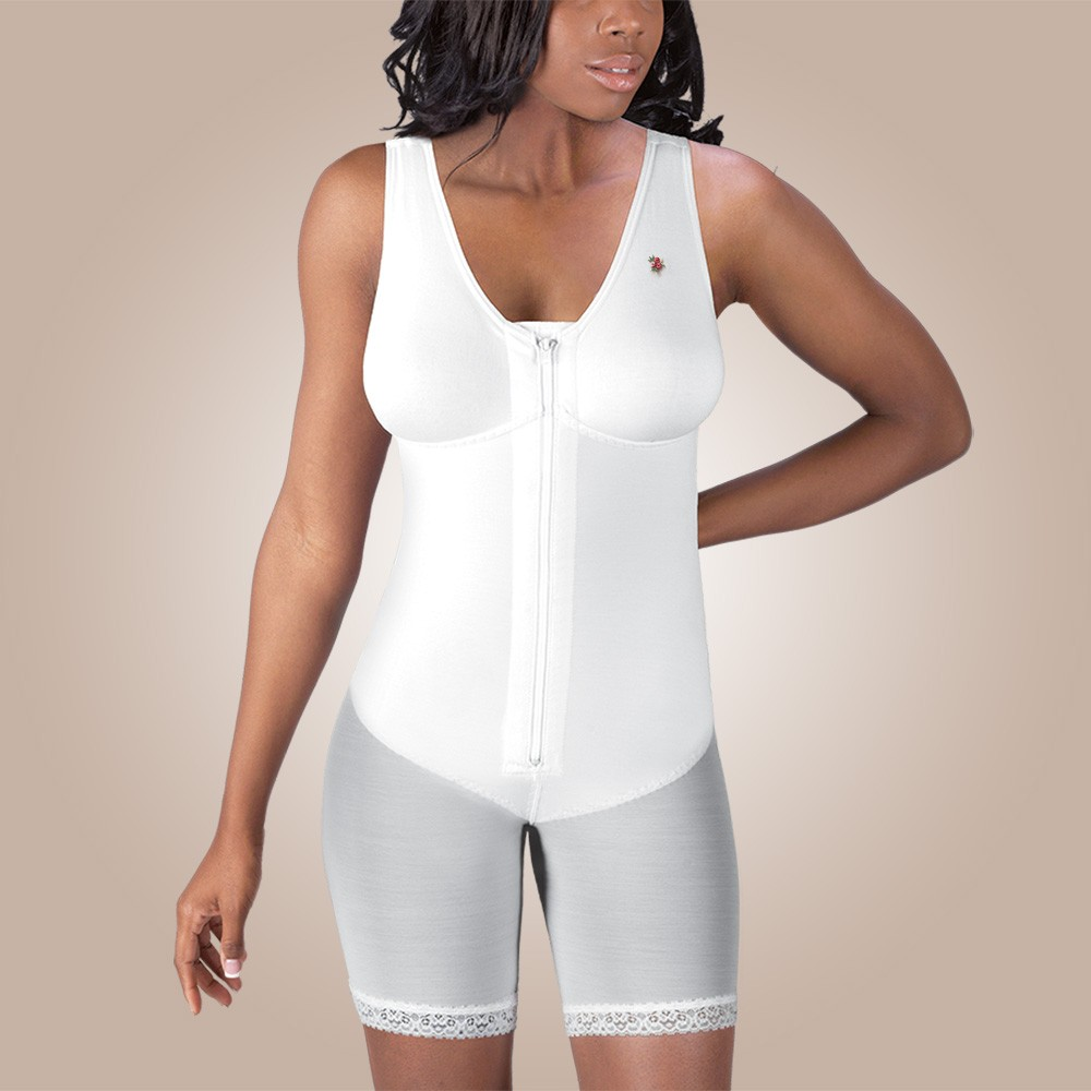 Mid-Thigh Molded Buttocks High-Back Girdle with Bra, Zippered