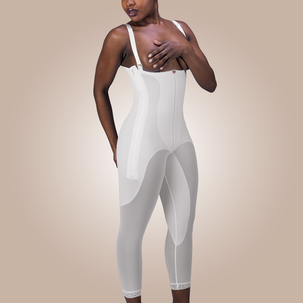 Rubenesque Below-Knee High-Back Full-Body Girdle, Zippered